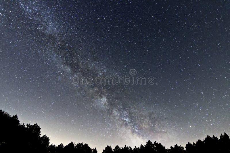 美丽的夜空,银河星系 免版税库存照片