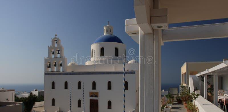美丽的大教堂在圣托里尼 图库摄影