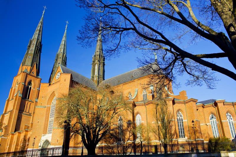 美丽的大教堂瑞典乌普萨拉 免版税库存照片