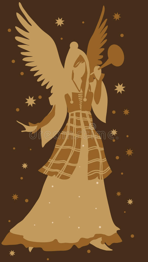 美丽的天使剪影 皇族释放例证