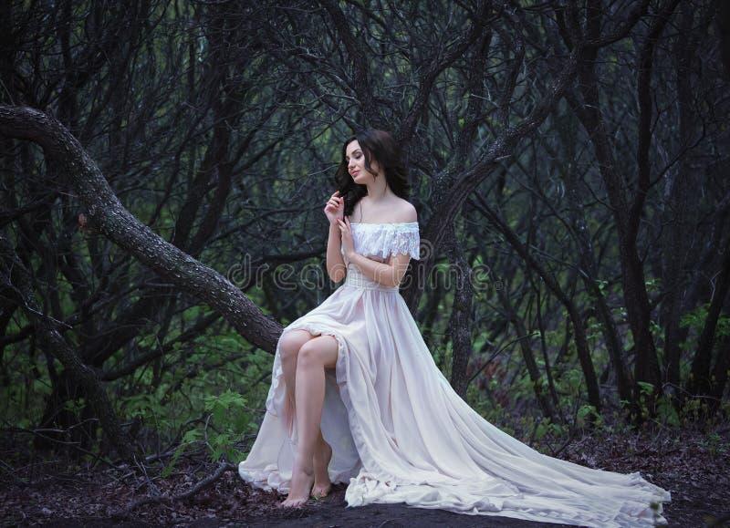 美丽的夫人在森林 库存照片