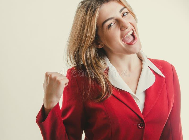 美丽的夫人 企业胜利概念 免版税库存照片