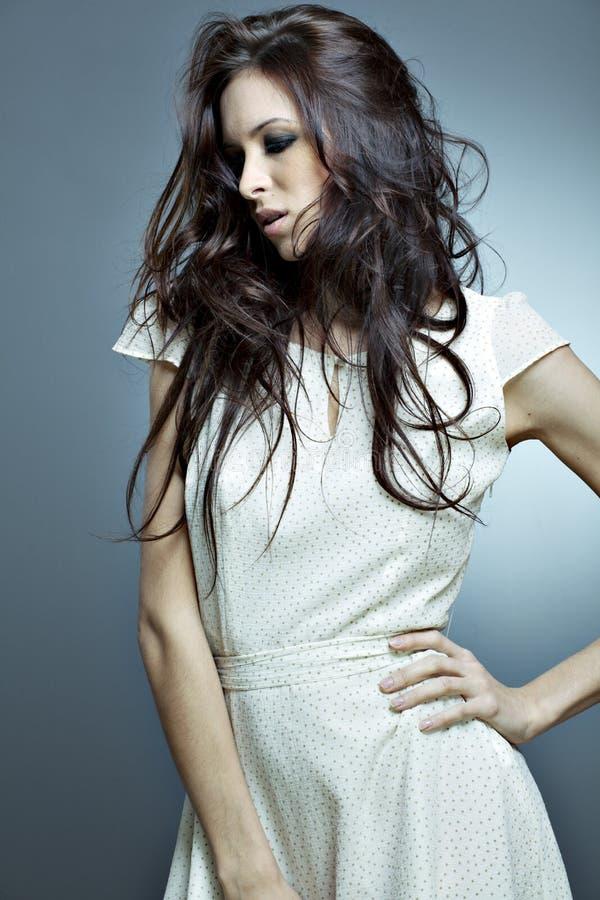 美丽的头发理想的纵向妇女 免版税库存照片