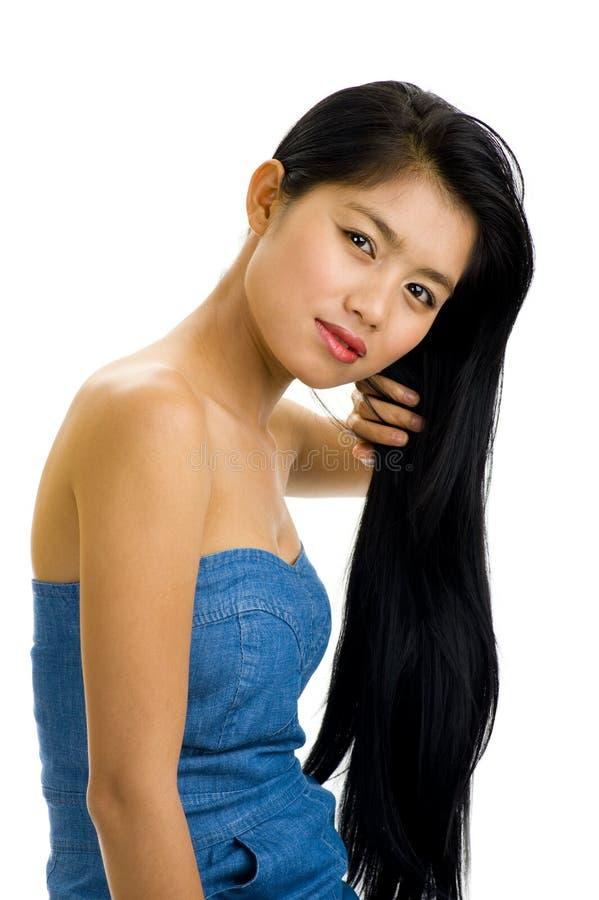 美丽的头发长的妇女 免版税库存图片