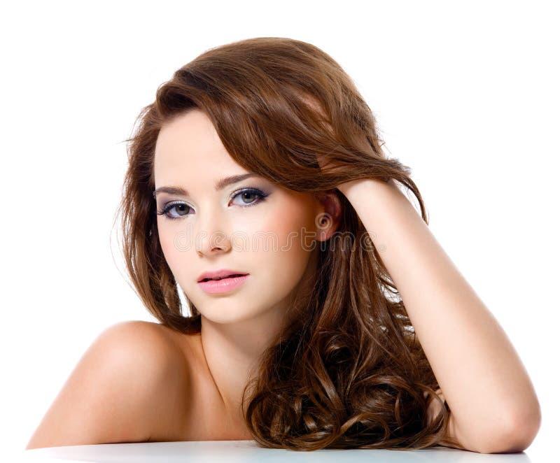 美丽的头发长的性感的妇女 库存图片
