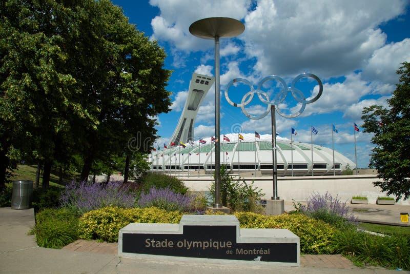 美丽的奥林匹克体育场在蒙特利尔加拿大 免版税库存照片