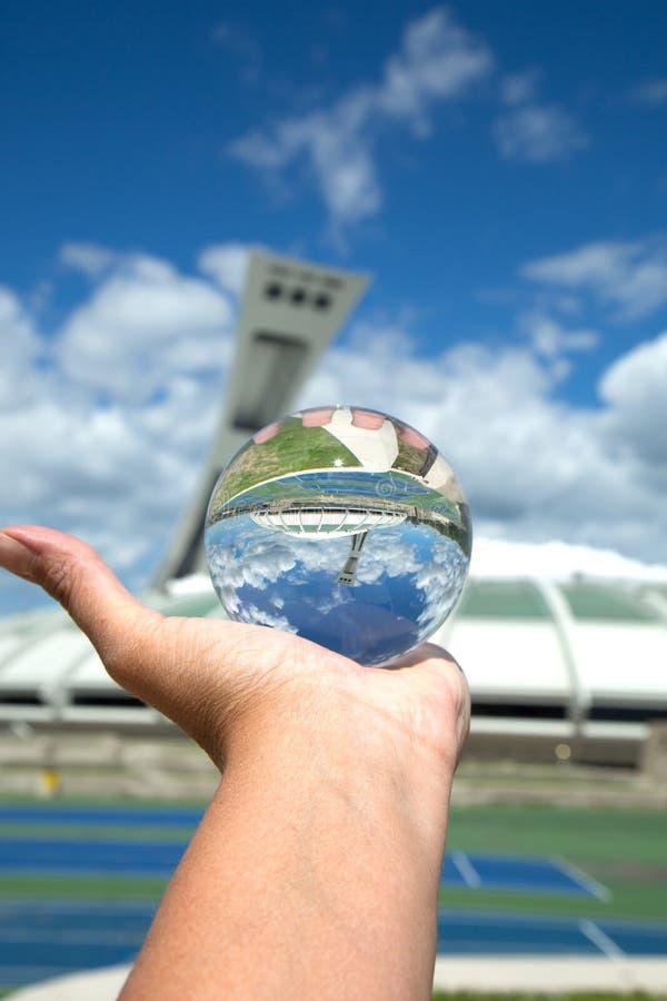 美丽的奥林匹克体育场在蒙特利尔加拿大 库存图片