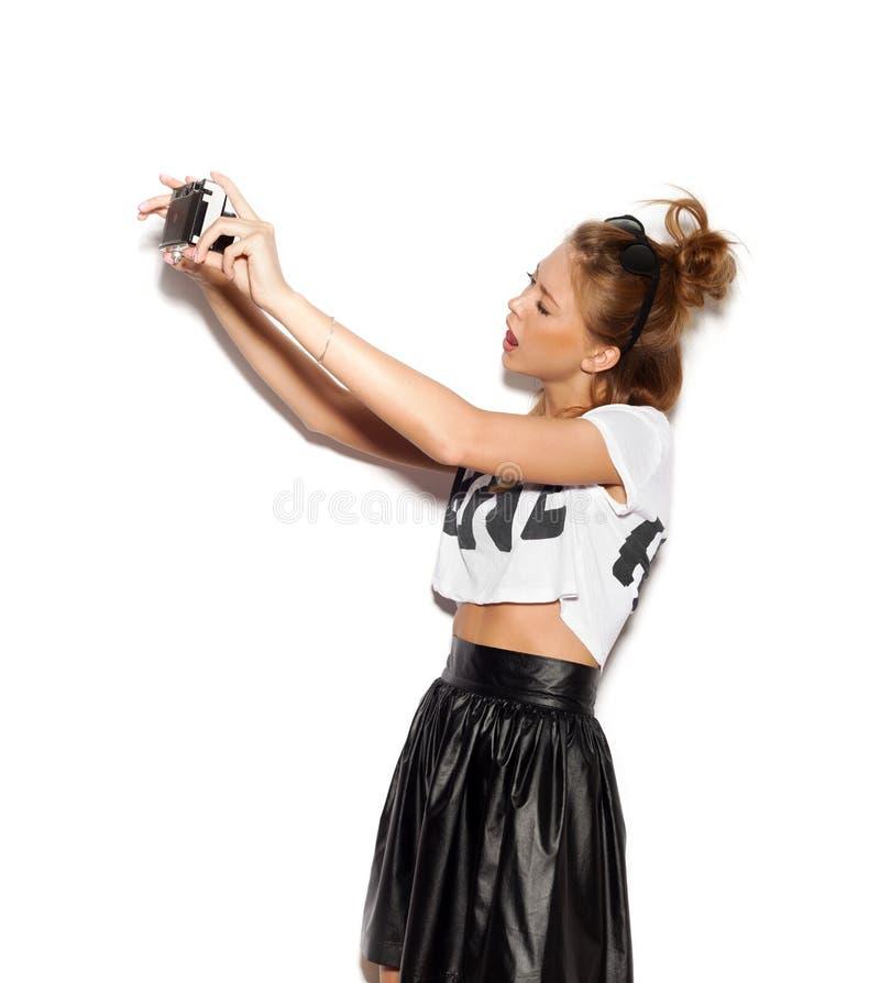 美丽的女孩为照相她的自已 库存照片