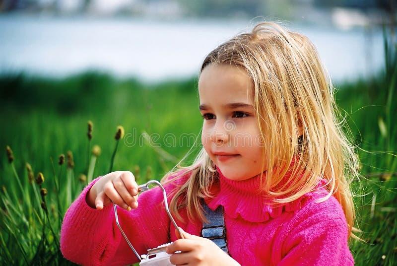 美丽的女孩使用的一点 库存照片