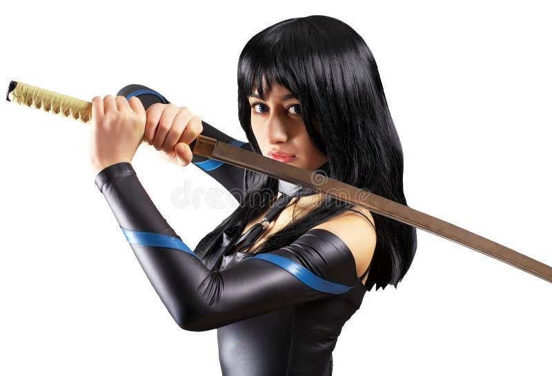 美丽的女孩剑 图库摄影