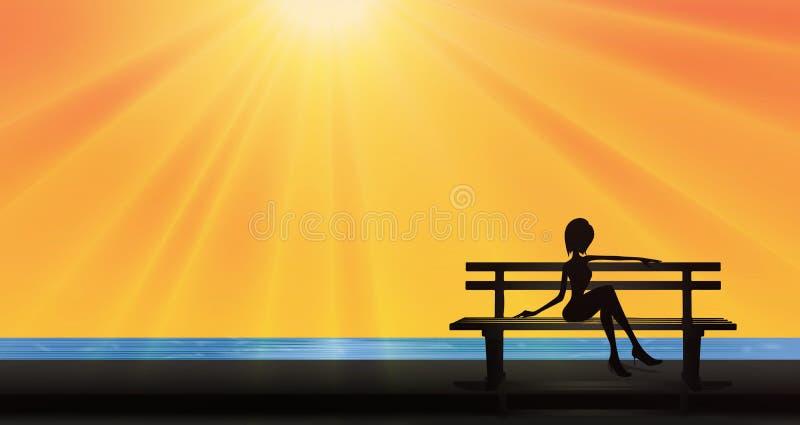 美丽的女孩剪影坐长凳在湖,夏天太阳附近 库存例证