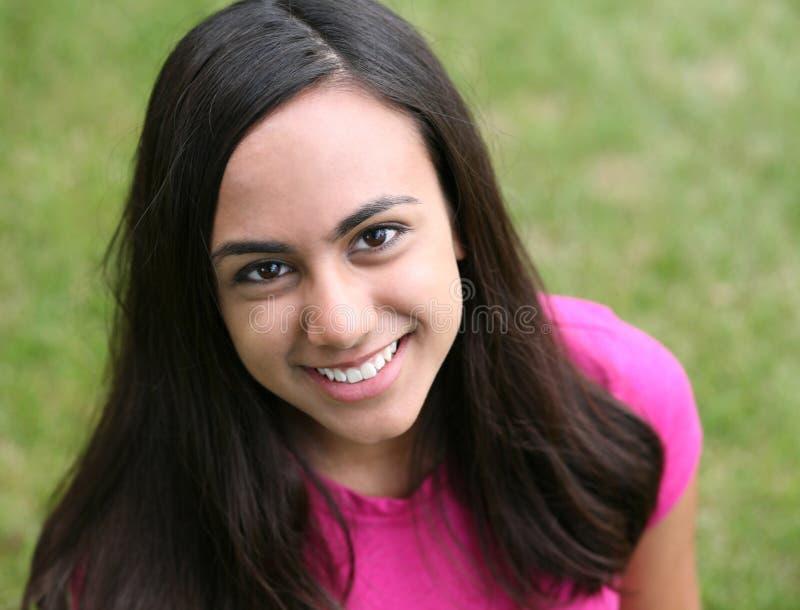 美丽的女孩印地安人微笑的年轻人 库存照片