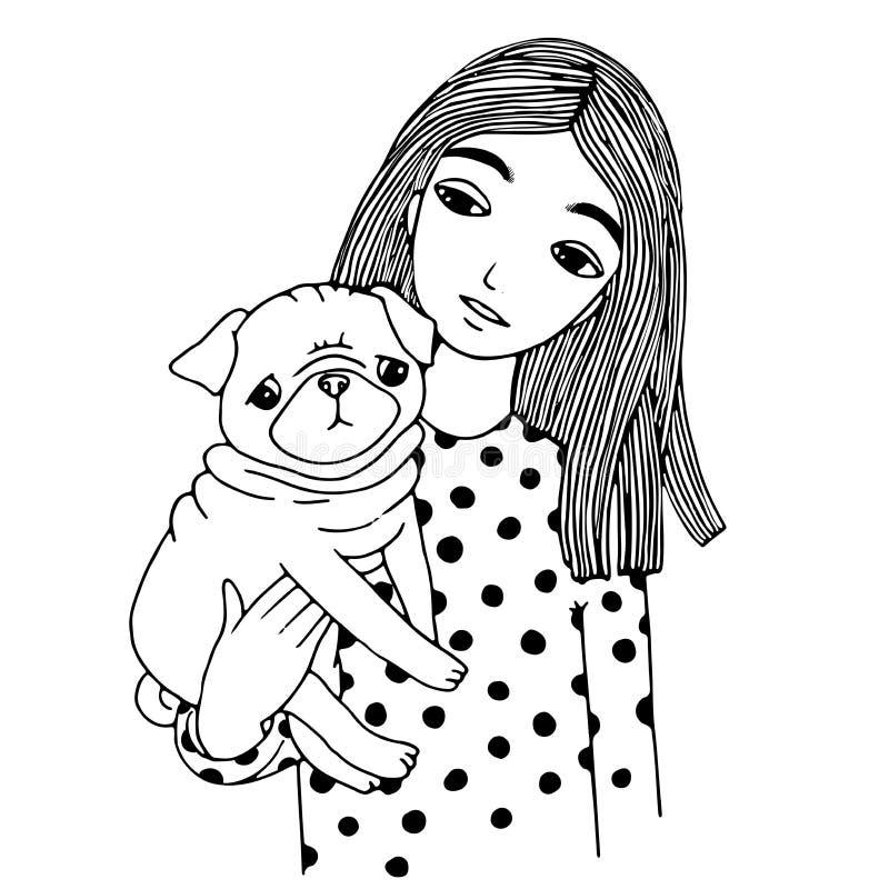 美丽的女孩和一个逗人喜爱的哈巴狗 库存例证