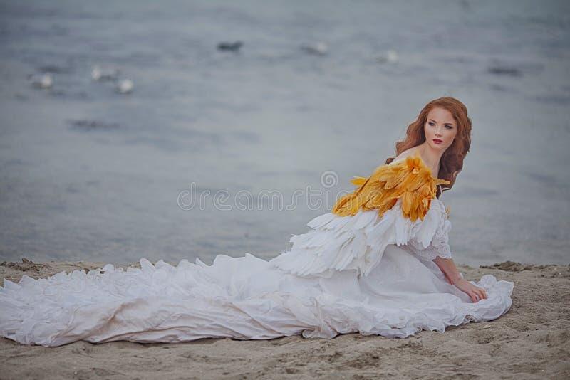 美丽的女孩喜欢在海滩的一只天鹅 库存图片