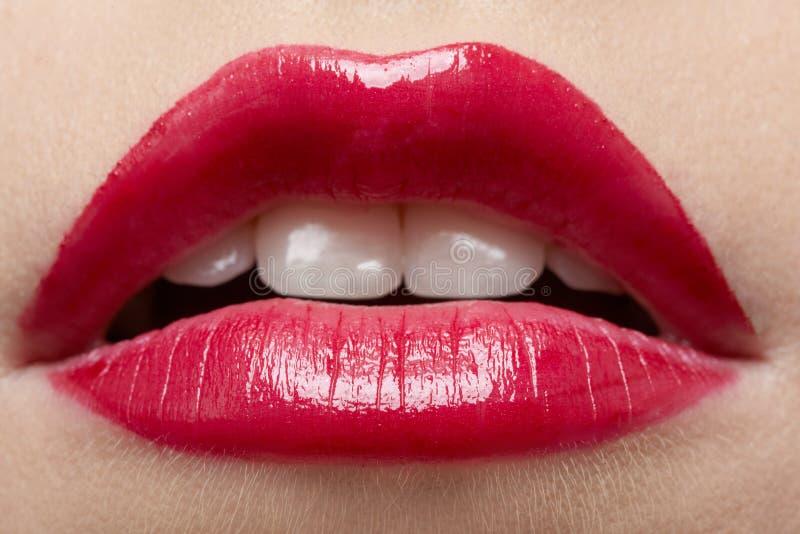 美丽的女孩嘴唇s 免版税库存图片