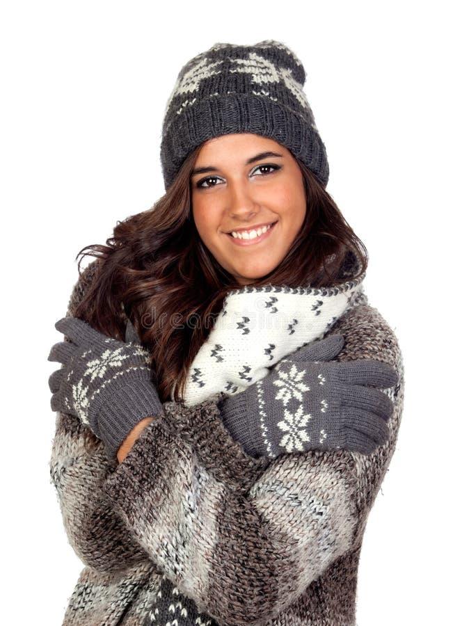 美丽的女孩在冬天衣物穿戴了 库存照片
