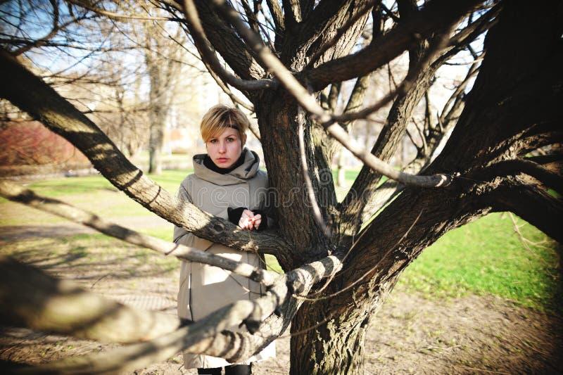 美丽的女孩在多枝树附近在春天站立 免版税库存照片