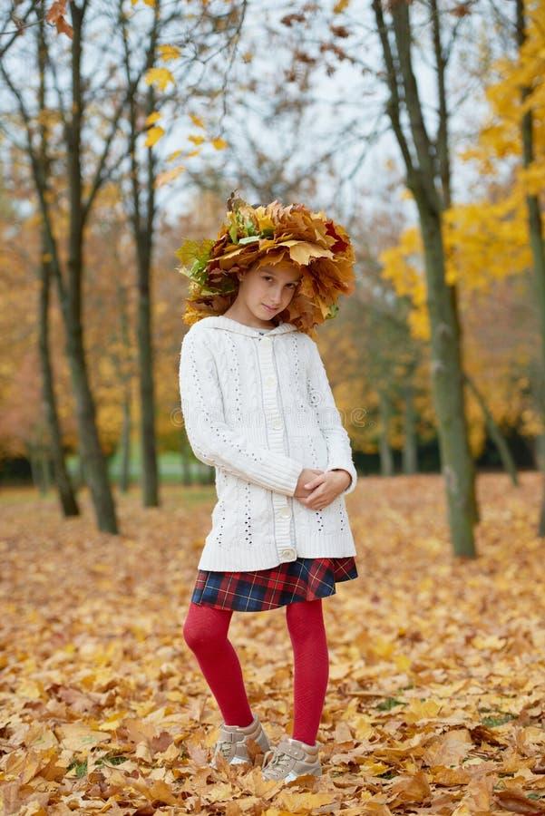 美丽的女孩在有花圈的秋天公园  库存图片