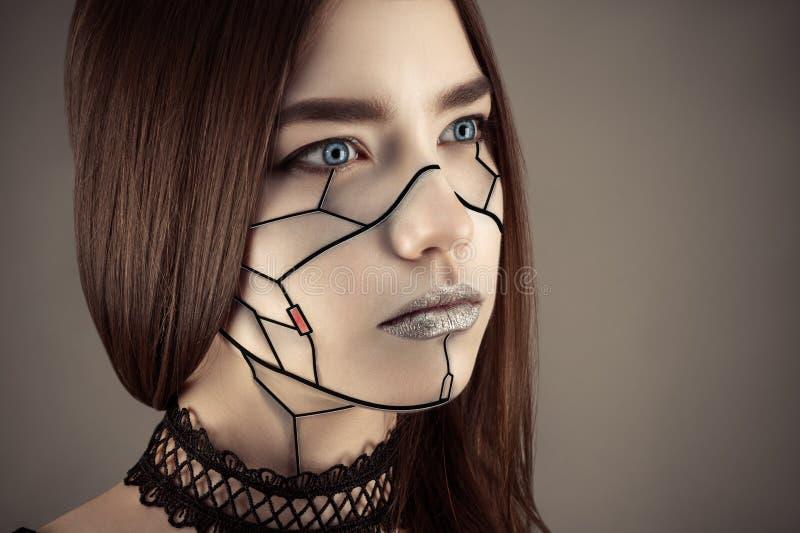 美丽的女孩在计算机国际庞克样式组成 图库摄影