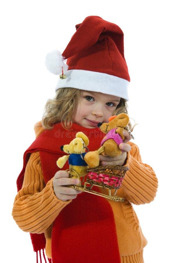 美丽的女孩小的鼠标 库存照片