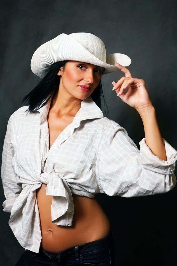 美丽的女孩帽子 免版税库存图片