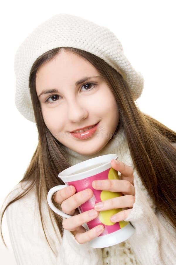 美丽的女孩成套装备冬天年轻人 库存照片