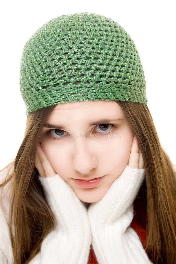美丽的女孩成套装备冬天年轻人 免版税库存照片