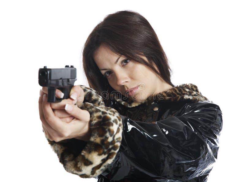 美丽的女孩手枪 库存照片