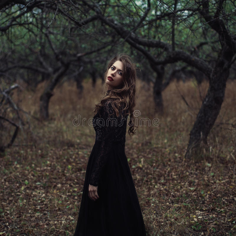 美丽的女孩有摆在森林的卷发的黑葡萄酒礼服的 在森林里丢失的减速火箭的礼服的妇女让参议员担心 免版税库存照片