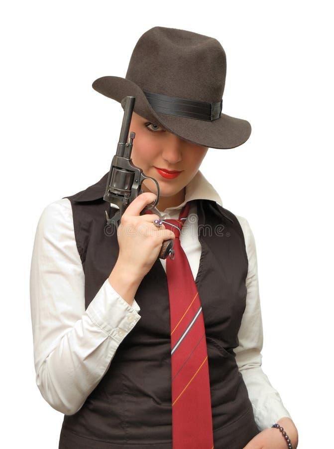 美丽的女孩枪 免版税库存图片