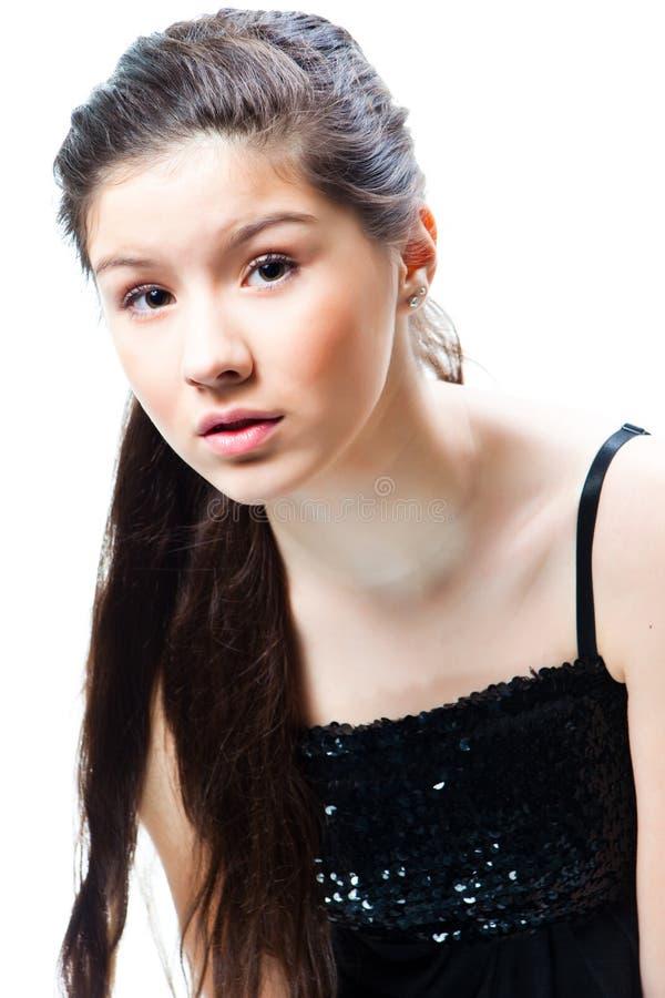 美丽的女孩查出的少年白色 免版税库存照片