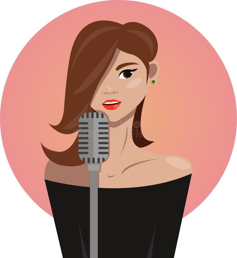 美丽的女孩歌手 免版税库存图片