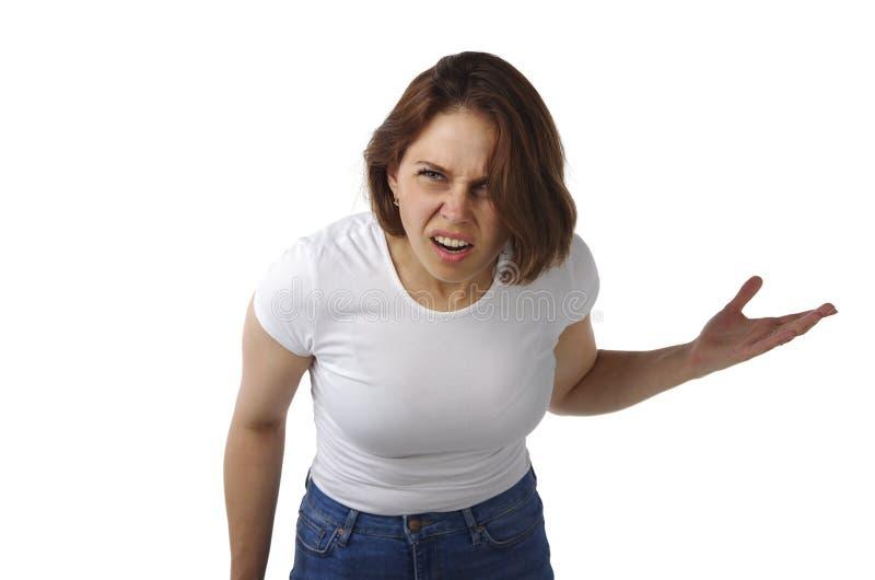 美丽的女孩激动愤怒的呼喊 免版税库存图片