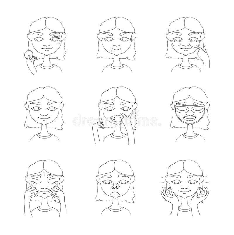 美丽的女孩照料她的皮肤和面孔 有微笑的手拉的可爱的妇女在面孔,皱痕,黑小点 Cosmetolo 皇族释放例证