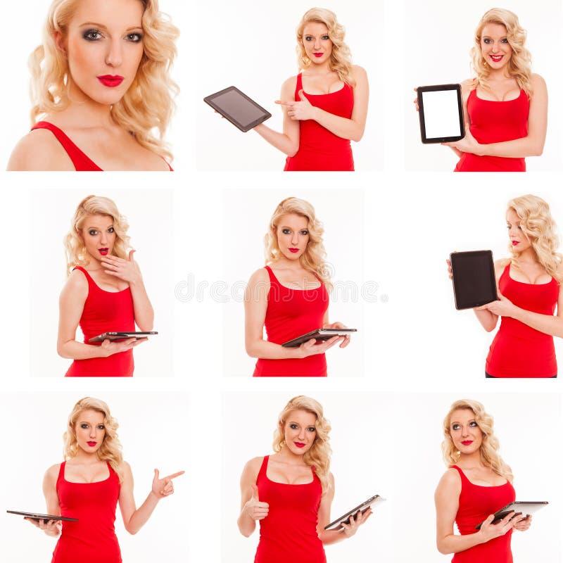 年轻美丽的女孩的构成有个人计算机片剂的在白色后面 免版税库存照片