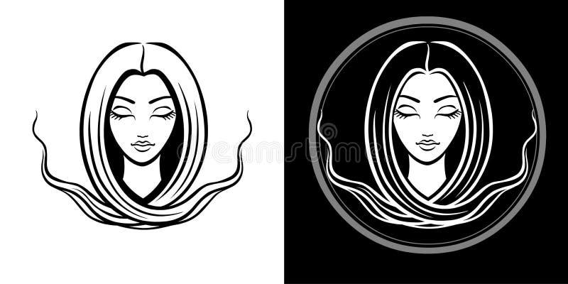 年轻美丽的女孩的风格化画象有长的头发的 线性被隔绝的图画 向量例证
