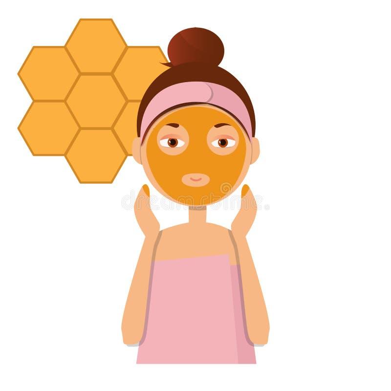 美丽的女孩给予黏土或奶油面具在面孔 向量例证