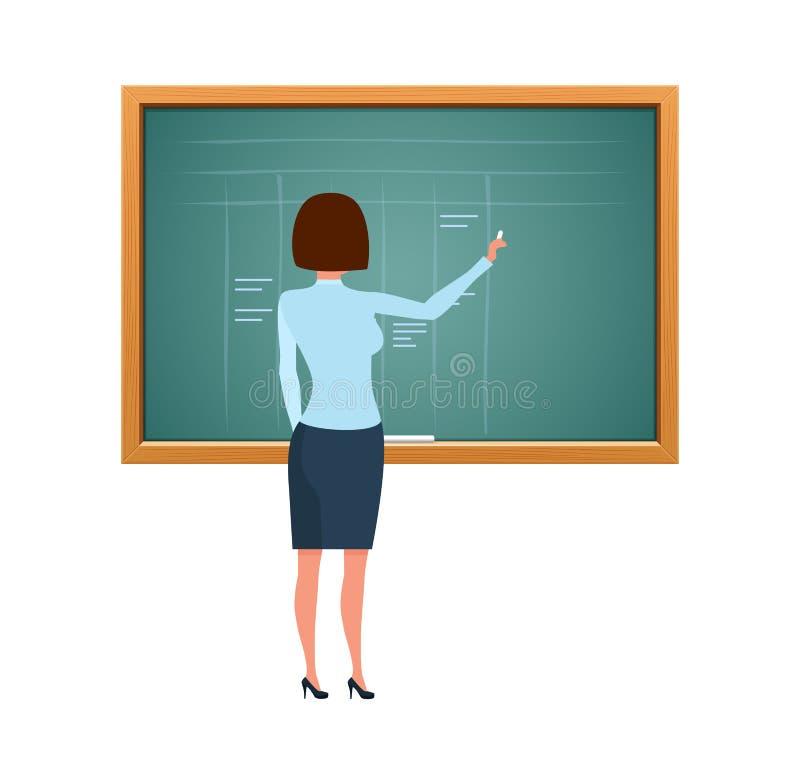 美丽的女孩老师,有在教育木黑板附近的文件的 向量例证