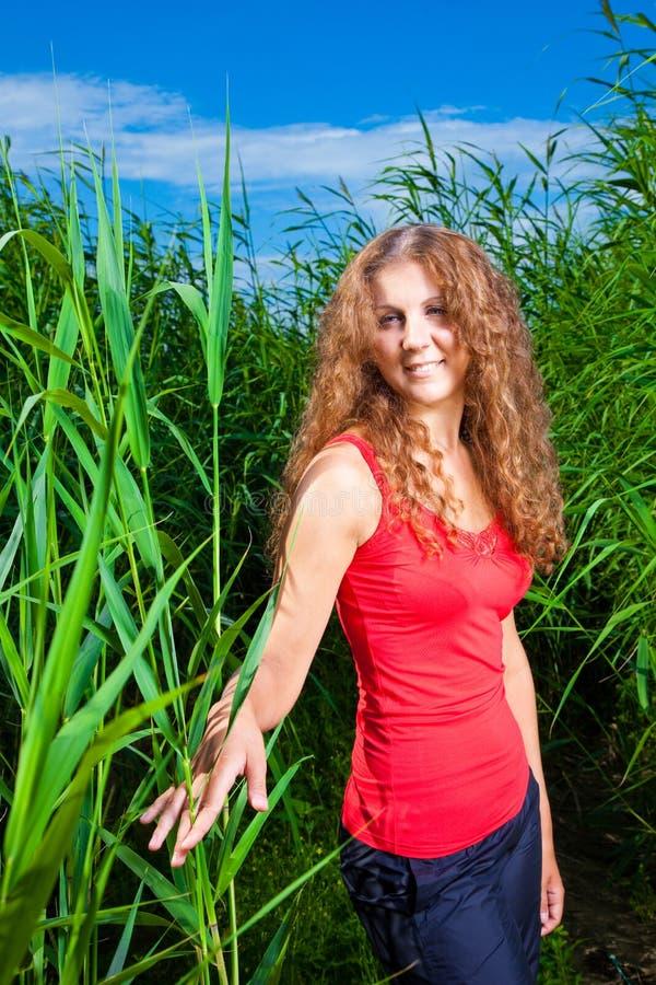 美丽的女孩草高草甸 库存图片