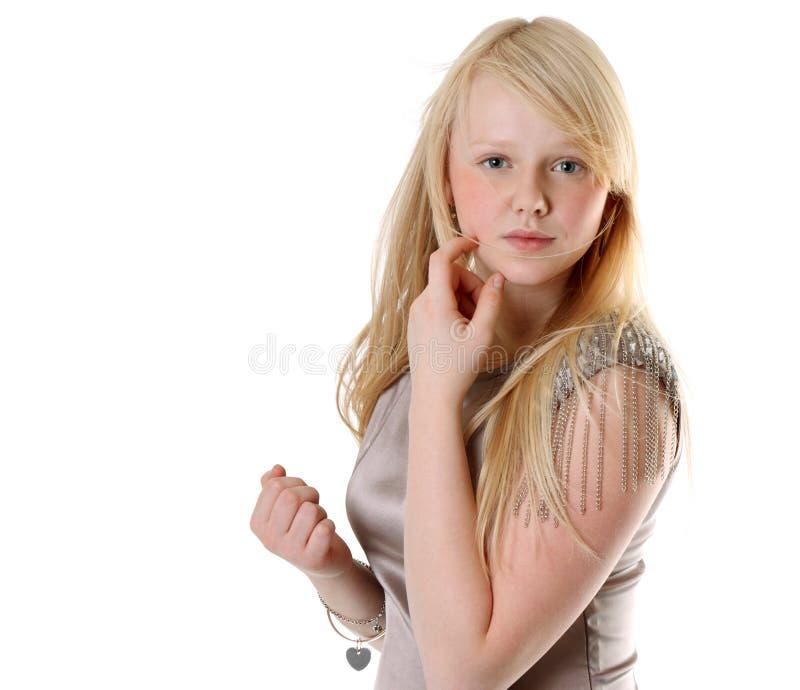 美丽的女孩褂子缎 免版税库存图片