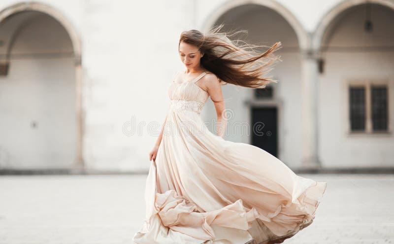 美丽的女孩,与摆在老城堡的长的头发的模型在专栏附近 克拉科夫Vavel 库存图片