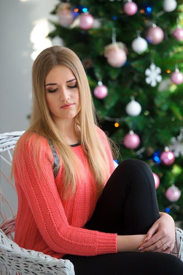 年轻美丽的女孩,妇女在有圣诞节的一间美好的屋子 库存图片