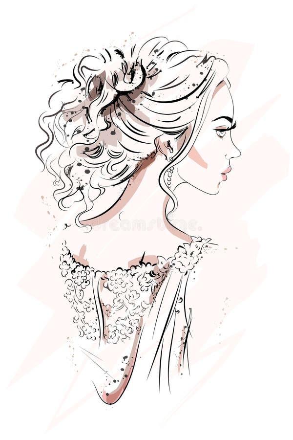 美丽的女孩年轻人 手拉的画象 草图 方式妇女 向量例证