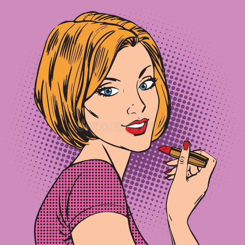 美丽的女孩绘她的嘴唇红色唇膏流行音乐 皇族释放例证
