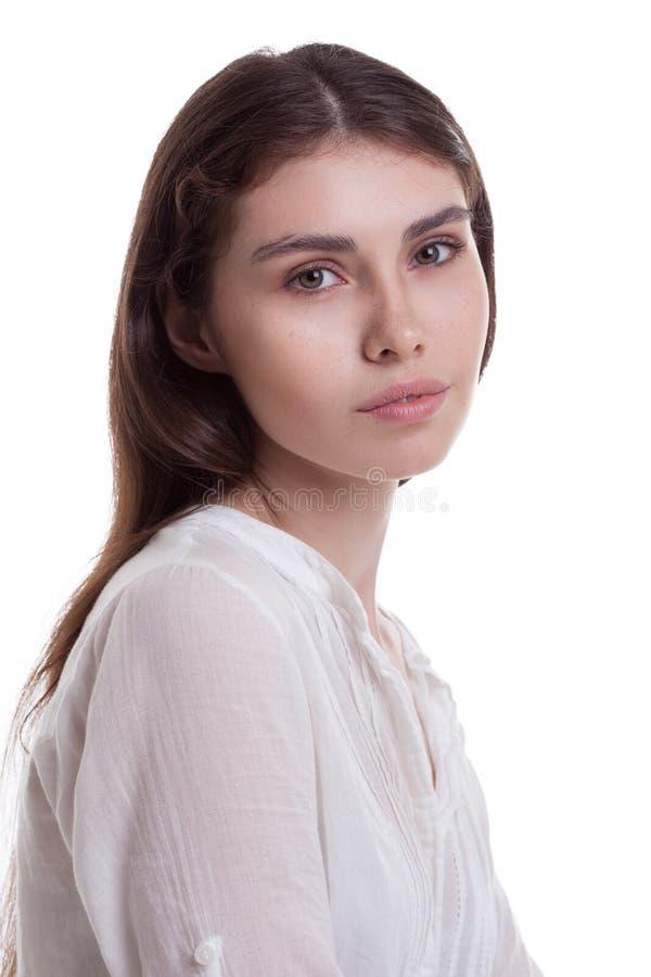 年轻美丽的女孩画象有雀斑的 库存照片