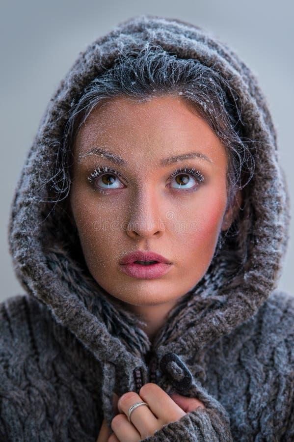 美丽的女孩画象有霜的在面孔 库存图片