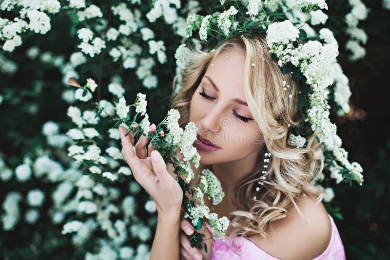 美丽的女孩画象灌木的 库存照片