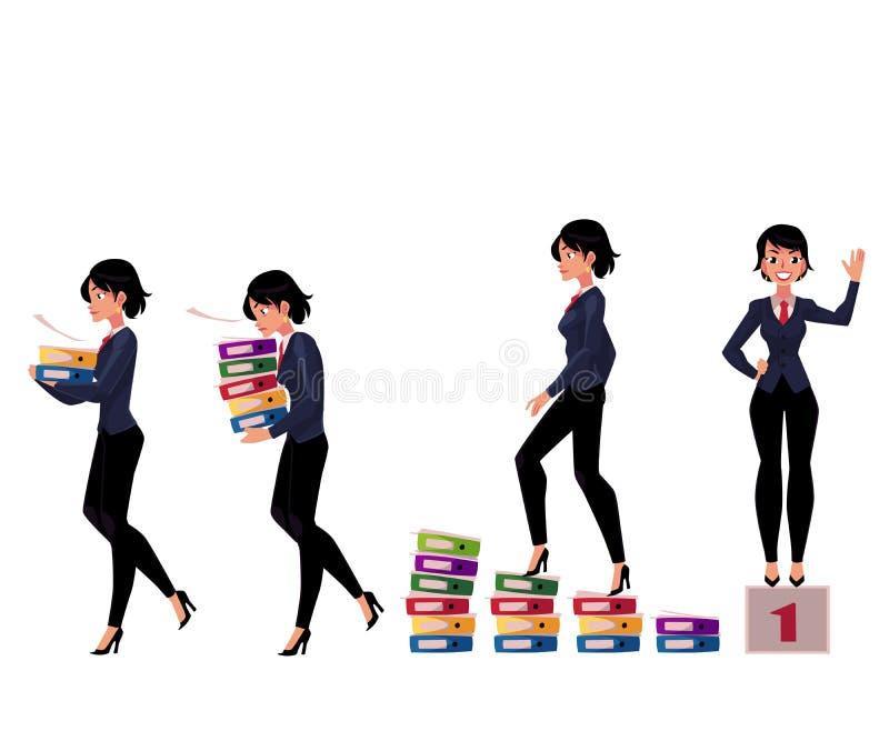 美丽的女实业家运载的文件夹,成功,赢取,事业梯子概念 库存例证