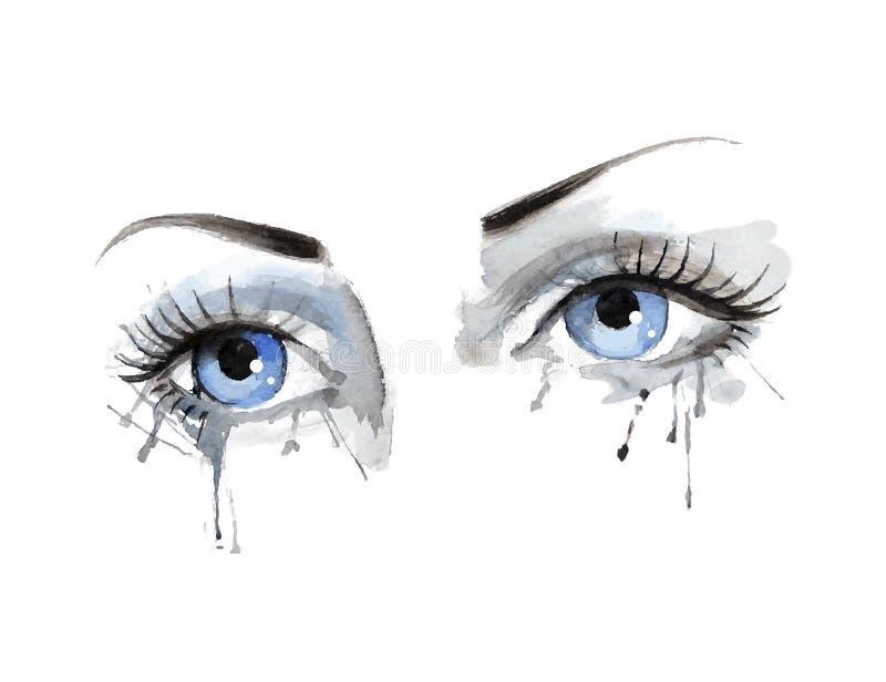 美丽的女性眼睛有水彩难看的东西背景 皇族释放例证