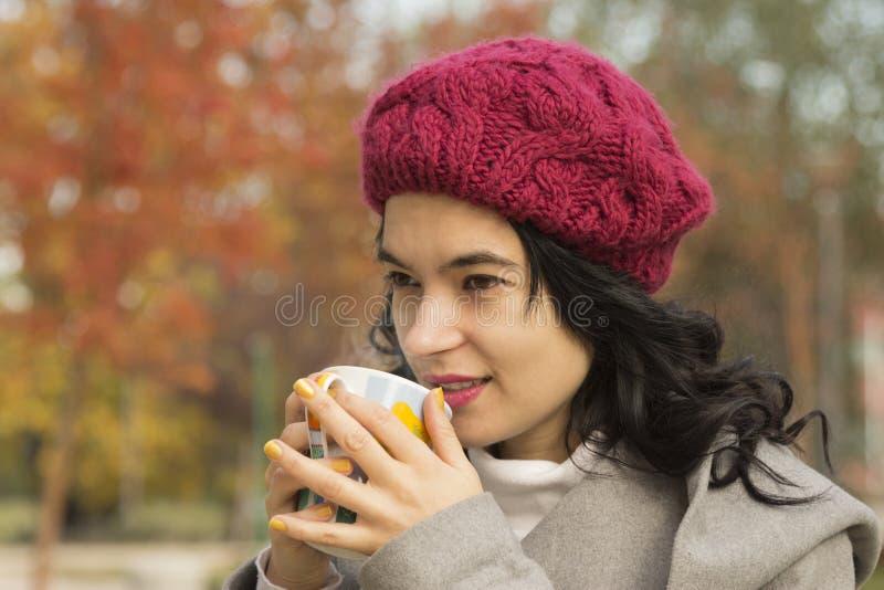 美丽的女性饮用的茶户外 免版税库存照片